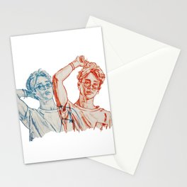 Jimin red and blue Stationery Cards