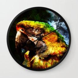 Smokey Parrot Wall Clock