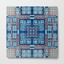 Elegant Abstract Geometric Quilt Print Blue and red Metal Print