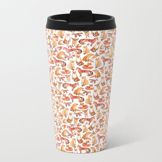 Fox Pattern Metal Travel Mug