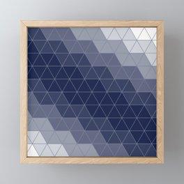 Navy Blue Triangles Framed Mini Art Print
