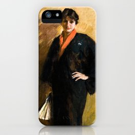 The Blue Kimono by William Merritt Chase - Vintage Victorian Retro Fine Art Oil Painting iPhone Case