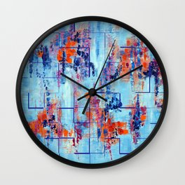 Blue Line Abstract Modern Acrylic Painting, Blue Home Decor Wall Clock