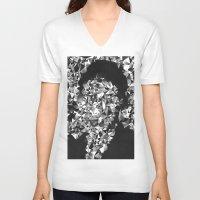 kafka V-neck T-shirts featuring Kafka by Alessandra M