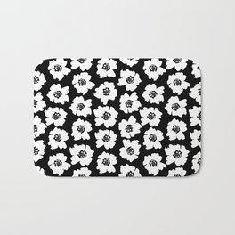 Linocut botanical nature floral flower art nursery black and white decor newborn Bath Mat