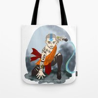 airbender Tote Bags featuring Tattooed Airbender by alulawings