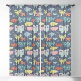 Moths Blue Sheer Curtain