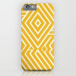 Line art yellow mudcloth iPhone Case
