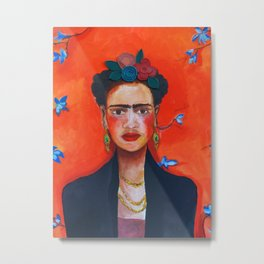 Frida Kahlo with red background Metal Print