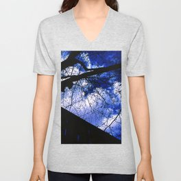 Urban maple tree in a winter evening with a city building and a cloudy sky Unisex V-Neck