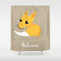 kitsune Shower Curtains featuring kitsune by kulu kulu