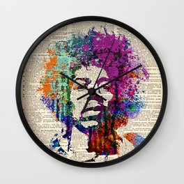 GUITAR GOD  on dictionary page Wall Clock