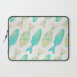 Indonesian Fish Duo – Turquoise & Cream Palette Laptop Sleeve