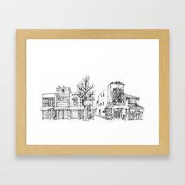 Urban space - Row of shops #1 Framed Art Print