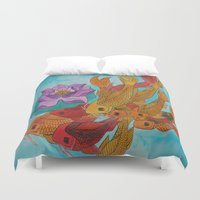 koi fish Duvet Covers featuring Koi Fish by DaeChristine