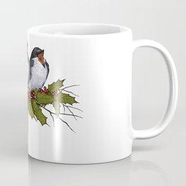 Christmas Illustration: Singing Birds With Holly Leaves, Twigs Coffee Mug