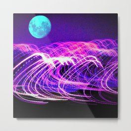 blue moon over an electric ocean Metal Print