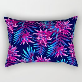 Aechmea Fasciata - Dark Blue/Pink Rectangular Pillow