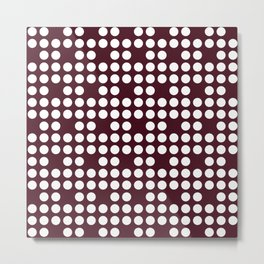 White dots on burgundy red Metal Print