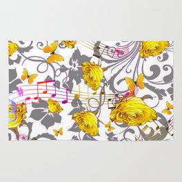 MUSICAL BUTTERFLIES FESTIVAL & YELLOW ROSE SCROLLS Rug