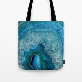 Blue agate marble faux druse crystal quartz gem gemstone geode mineral stone photograph hipster Tote Bag