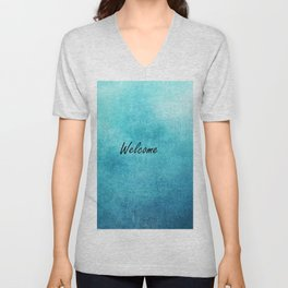 Turquoise Texture Welcome |  Texture Turquoise Unisex V-Neck