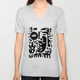 Minimal African Art Black and White Pattern Abstract  Unisex V-Neck