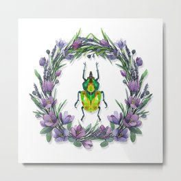 Colourful Beetle with flowers Metal Print