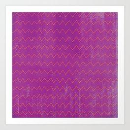 Abstract geometrical magenta pink orange watercolor chevron Art Print