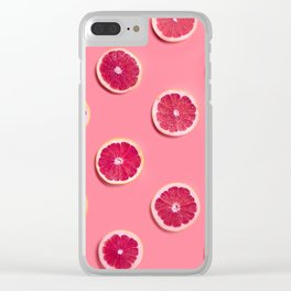 Pink Grapefruit Slices Clear iPhone Case