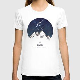 Astrology Aquarius Zodiac Horoscope Constellation Star Sign Watercolor Poster Wall Art T-shirt