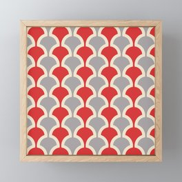 Classic Fan or Scallop Pattern 417 Gray and Red Framed Mini Art Print