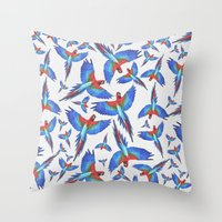 parrot Throw Pillows featuring Parrot. by Eleaxart