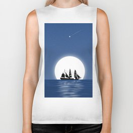 Sailing with Full Moon and Shooting Star Biker Tank
