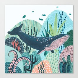 Happy Blue Whale Canvas Print