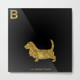 Basset Hound | Dog | gold foil Metal Print