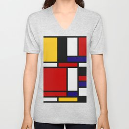 Mondrian De Stijl Art Movement Unisex V-Neck