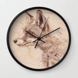 Red Fox Portrait - Drawing by Burning on Wood - Pyrography art Wall Clock