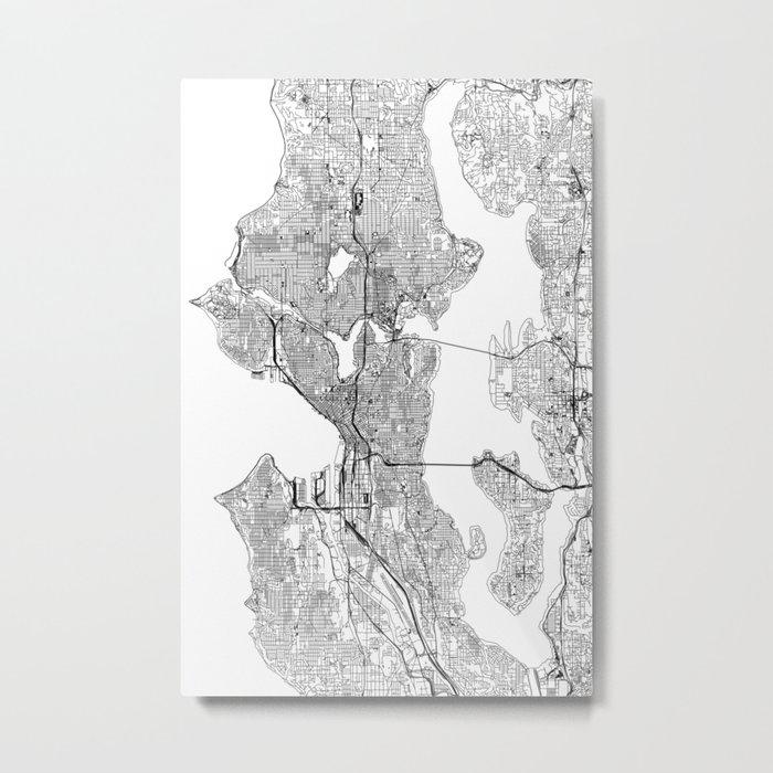 Seattle White Map Metal Print