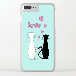Couple cats with love Clear iPhone Case