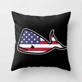 Save The Whales Design I USA Flag patriotic Gift design Throw Pillow