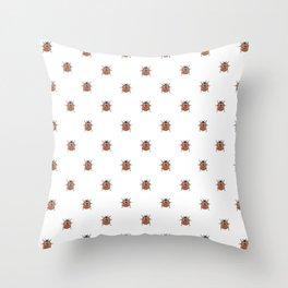Lucky Ladybug Watercolor Print Pattern Throw Pillow