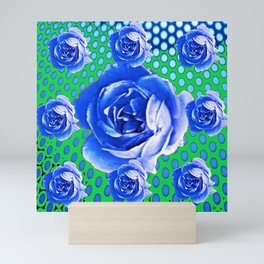 BABY BLUE CABBAGE STYLE ROSES GREEN ABSTRACT Mini Art Print