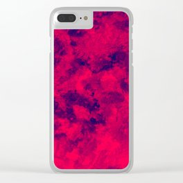 Blue - Red Abstract Texture Clear iPhone Case