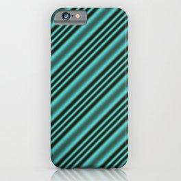 Black and Teal Modern Stripes iPhone Case