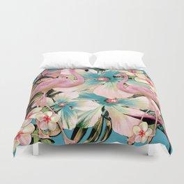 Vintage Flamingo Aloha Duvet Cover