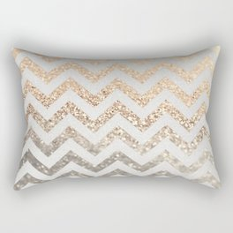 GOLD & SILVER CHEVRON Rectangular Pillow