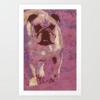 bulldog Art Prints featuring Bulldog by Angelandspot