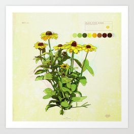 Black Eyed Susan and Her Pollinators Detail 1 TRIPPY Art Print
