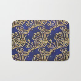 Abstract Gold Ocean Waves and Hearts on Blue Ombré background Bath Mat